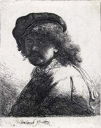 REMBRANDT VAN RIJN Self Portrait in a Cap and Scarf with the Face Dar... Lot 111
