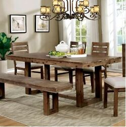 Urban Farmhouse Dining Table Set Rustic Modern Room Style Bench Plank Weathered
