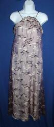 Ladies CHANEL BOUTIQUE  Maxi Dress Long Purple Dragon Fly Silk Size 36 Small