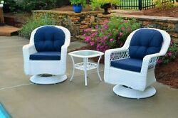 3 Pc Outdoor Patio Bistro Set Wicker Furniture Swivel Chairs Table Garden Deck