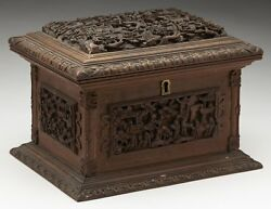 ANTIQUE CHINESE CANTON CARVED WOODEN JEWELLERY BOX 19TH C