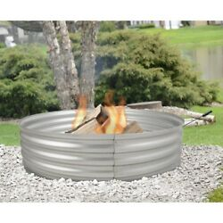 Fire Pit Ring Set Large Galvanized Portable Outdoor Bonfire Camping or Planter