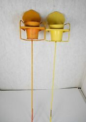 SET 2 RETRO METAL LAWN CHAIR PLANT HOLDERS GARDEN STAKES