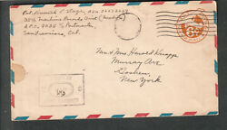 WWII censor mute cancel cover Pvt Kenneth L Stage 35th Machine Recs APO 9035 SF $8.00