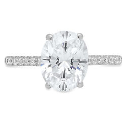 1.79ct Oval Anniversary Engagement Bridal Accent Solitaire Ring 14k White Gold