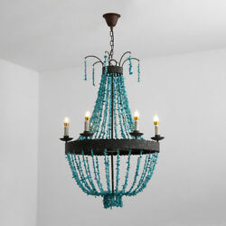 Vintage Rust Turquoise Bead Strands 56-Light Large Chandelier Home Lamp Decor