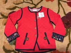 NWT HANNA ANDERSSON Scandi Quilted Cotton Jacket Apple Red Navy 110 4 5 6 $79