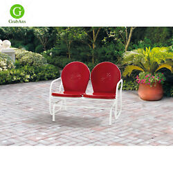 Retro Metal Glider Garden Seating Outdoor Furniture Yard Patio Red Chair Seats 2