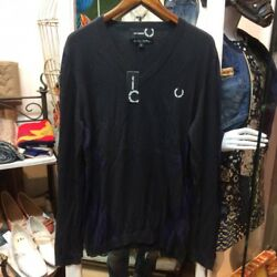 RARE RAF SIMONS × FRED PERRY V-Neck Knit Sweater Navy Men's Tops Size L