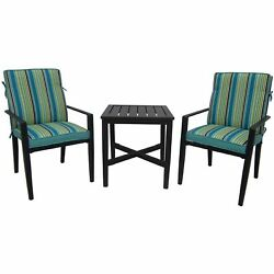 3 Piece Outdoor Bistro Set Garden Table Pool Deck Teal Chairs Patio Furniture