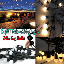 2Pcs 48Ft E27 ES Garden Porch Backyard Deck Yard G45 LED Bulbs String Light Kits