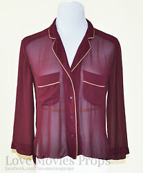 Begin Again Keira Knightley Screen Worn Maroon Silk Chiffon Cardigan Adam Levine