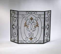 Mediterranean French Scrolled Iron Fireplace Screen Tuscan Gold Accents