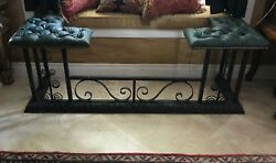 ANTIQUE ENGLISH CLUB FENDER FIREPLACE SEAT BENCH 1900 LEATHER SEAT IRON FRAME