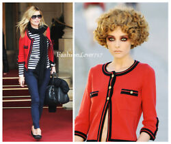 NEW $2.9K MOST WANTED 10C CHANEL RED NAVY CASHMERE JACKET CARDIGAN SWEATER 40