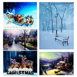 Christmas Wall Hanging LED Light Up Snow Villa Canvas Pictures Print w Frame