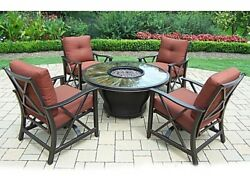 5 Piece Fire Pit Sunray Polyester Cover Conversation Set By Oakland Living