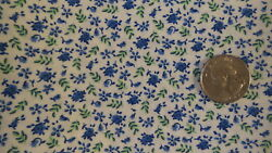 Cotton Fabric SMALL SHADES OF BRIGHT BLUE FLORAL ON WHITE 1 Yd 44quot; $9.99