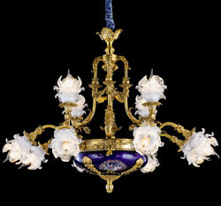 FRENCH LOUIS STYLE 12-light BRONZE CANDELIER - COBALT BLUE ORMOLU PENDANT LAMP