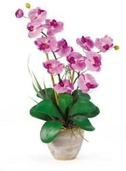 Nearly Natural 1026-MA Double Phalaenopsis Silk Orchid Flower Arrangement Mauv
