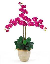 Nearly Natural 1017-BU Triple Phalaenopsis Silk Orchid Flower Arrangement