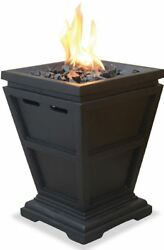Outdoor Gas Fireplace Black Table Top Column propane Backard Patio Fire Pit