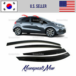 SMOKED DOOR WINDOW VENT VISOR DEFLECTOR fits for KIA RIO HATCHBACK 2015-2017 $43.81
