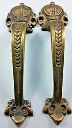 2 Solid Brass Crown Handles 6 3 4quot; Pulls Door Cabinet Ant. Style Barn Gate #P10 $24.50
