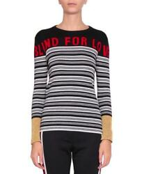 Gucci BlackWhiteRedGold Striped Blind For Love CashmereSilk Sweater M $1200