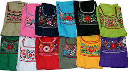 Peasant Tunic Hand Embroidered Mexican Puebla Blouse Top Assorted Colors $22.99