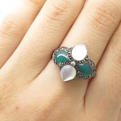 Signed 925 Silver Real Mother-Of-Pearl Marcasite Green Onyx Gem Ring Size 7