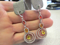 Stunning OrangeGold and Yellow Sapphire and Diamond Chandelier Earrings 18k wg