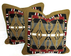 Pair of Vtg Hand Beaded Wool Lodge Tribal Native Decorative Pillow Neiman Marcus