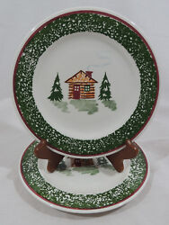CABIN CHRISTMAS by TRE CI Cabin Trees Green Speckled Band Salad Plates Set of 2