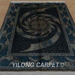 YILONG 5.9'x8.2' Persian Hand knotted Silk Rug Whirlwind Indoor Blue Carpet 0756