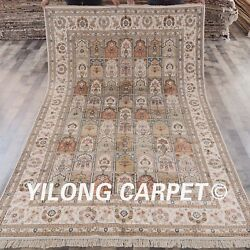YILONG 6'x9' Hand Knotted Persian Silk Area Rug Indoor Four Season Carpet Y316AB