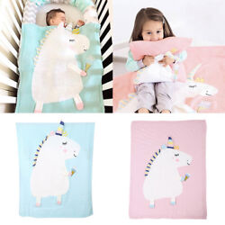 Cute Unicorn Kids Baby Napping Blanket Quilt Bedding Towel Cover Throws Wrap