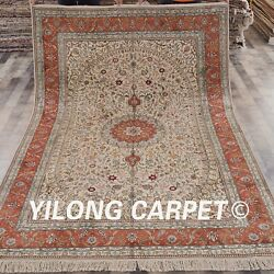 YILONG 6'x9' Persian Hand knotted Silk Rug Dining Room Indoor Area Carpet S79B