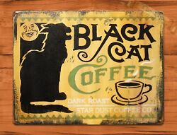 TIN SIGN quot;Black Cat Yellowquot; Coffee Kitchen Rustic Wall Decor $15.95