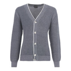 TOM FORD Cotton Linen Cashmere Cardigan Sweater L 52Eu Blue White Made in Italy