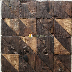 triangle log wood crude wood mosaic mosaic tile for wall backsplash HME4044