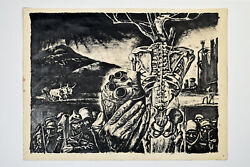 FRANCIS DE ERDELY - Heart and Skeleton - Cycle of War ink drawing Erdélyi Ferenc