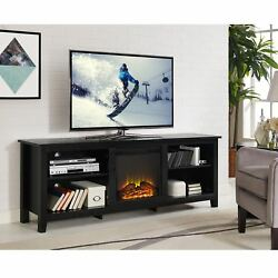 70-inch Black Wood Fireplace TV Stand Home Audio Video Entertainment