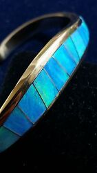 RARE signed Thane DeLeon 14K gold and fire opal cuff bracelet