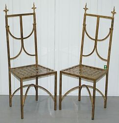 MATCHING PAIR FRENCH SOLID METAL GOLD LEAF PAINTED HIGH BACK OCCASIONAL CHAIRS