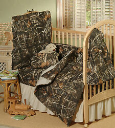 REALTREE MAX 4 CAMOUFLAGE BABY CRIB BEDDING SET - 6 PIECES COMFORTER SKIRT ++