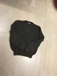 wool sweater french armyused A+oliveod v neck ribbed  1986medlarge