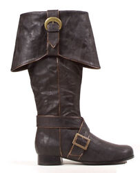 Mens Knee High Pirate Boots Black Halloween Accessory $69.95