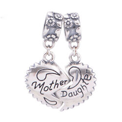 Authentic 925 Silver Mother Daughter Love Heart Dangle Charm Mom Mother Day Gift