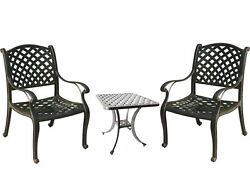3 Piece Bistro Set Patio table and chairs Nassau cast aluminum furniture